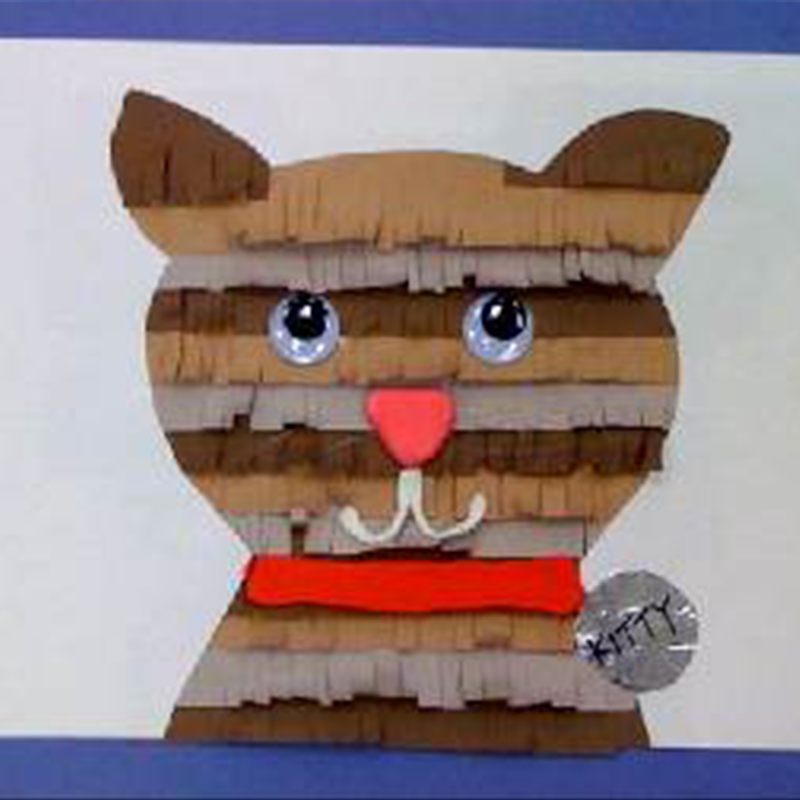 Kidcreate Studio, Fringed Kitten Portrait Art Project