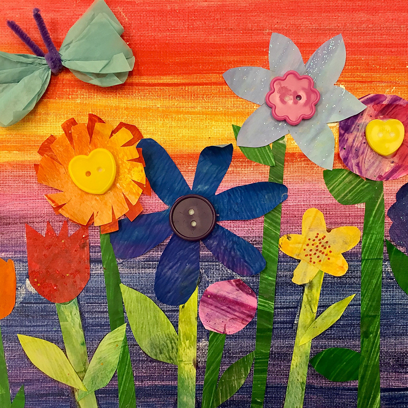 Kidcreate Studio - Woodbury, Garden Collage Art Project