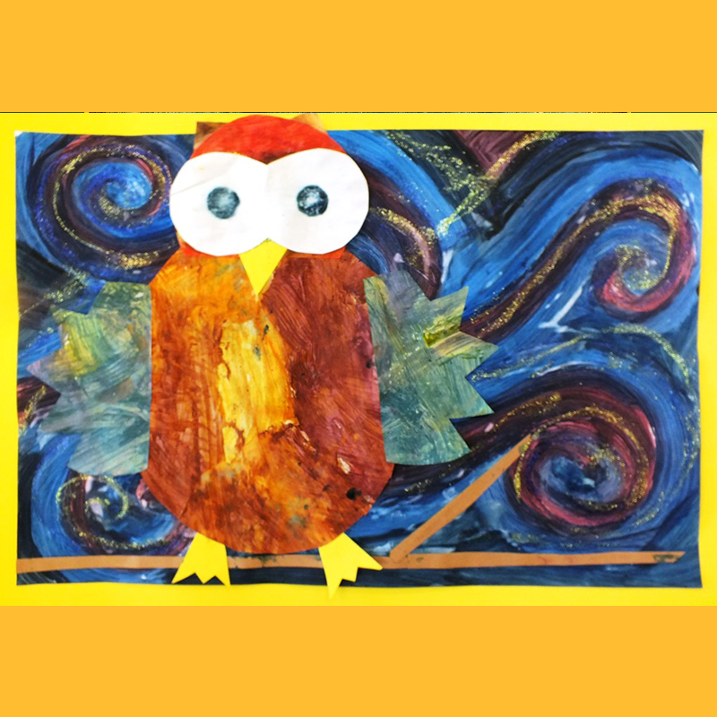 Kidcreate Studio, Glow-in-the-Dark Owl Collage Art Project