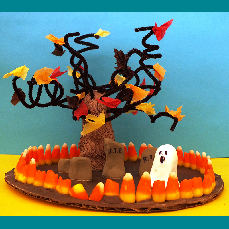 Kidcreate Studio, Halloween Candy Scene Art Project