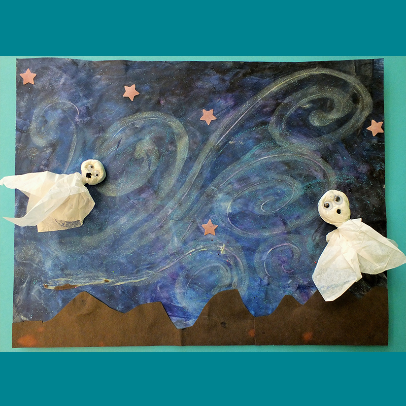 Kidcreate Studio, Halloween Starry Night Ghost Art Project