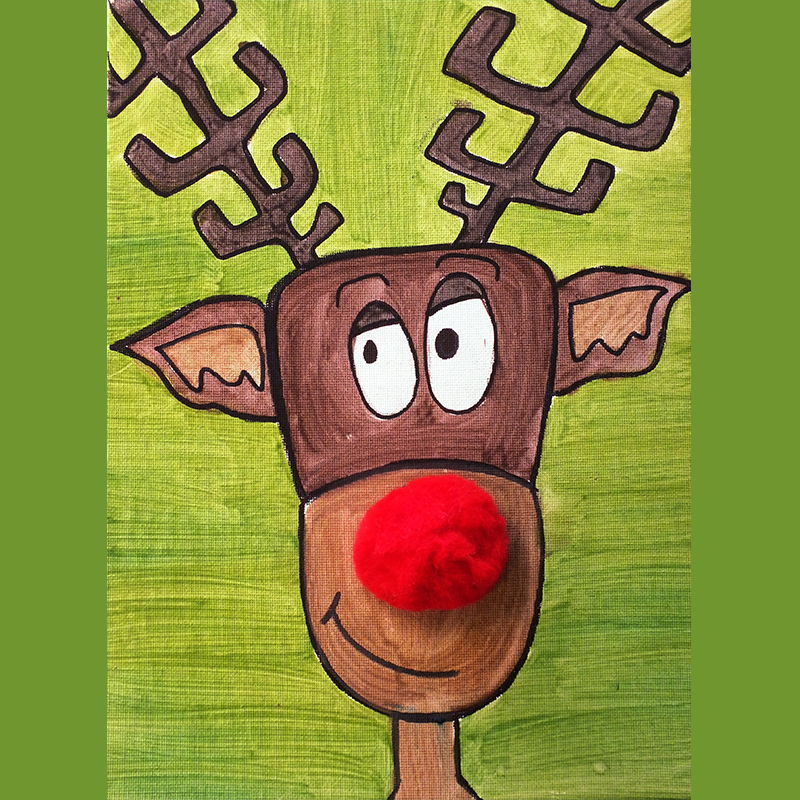 Kidcreate Studio, How to Draw Rudolph Art Project