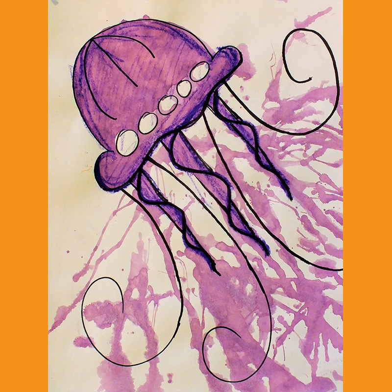Kidcreate Studio, How to Draw a Jelly Fish Art Project