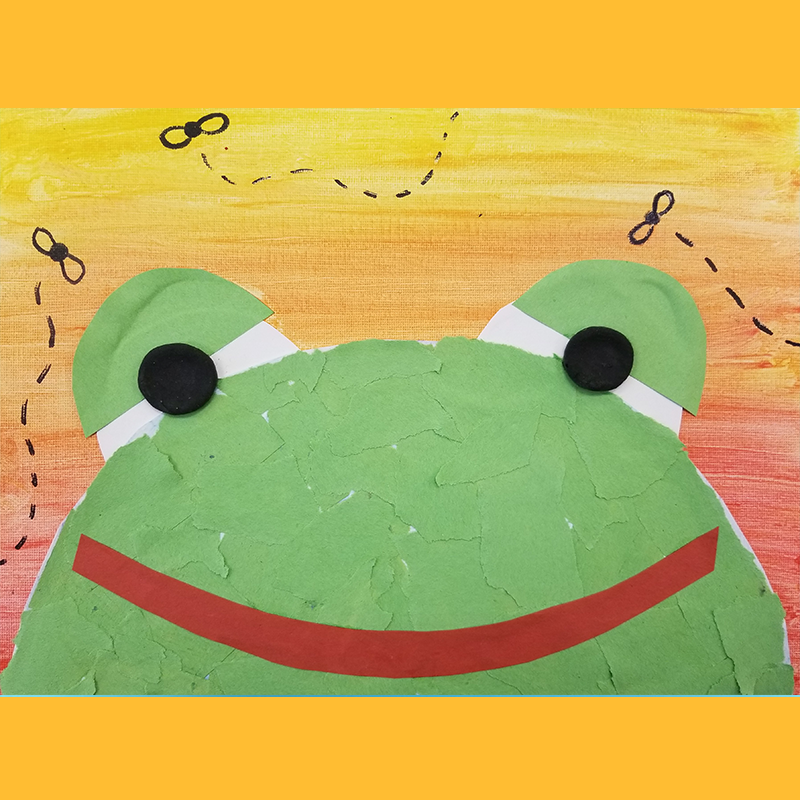 Kidcreate Studio, Little Green Frog on Canvas Art Project