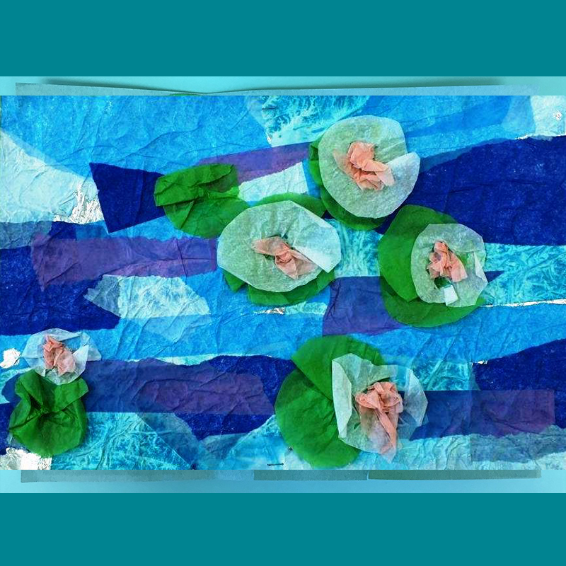 Kidcreate Studio, Monet's Water Lilies Art Project