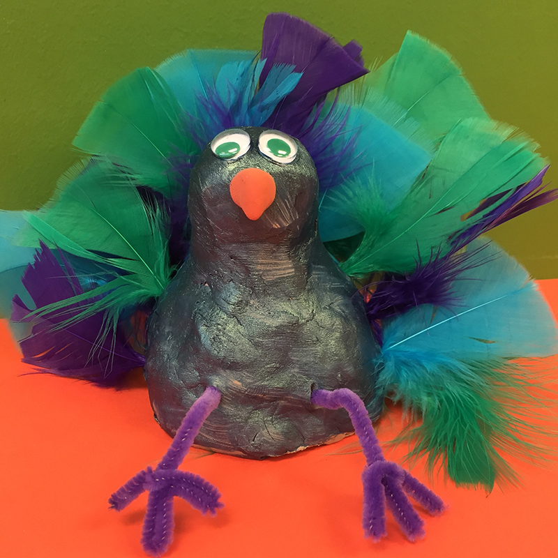 Kidcreate Studio, Wacky Clay Peacock Art Project
