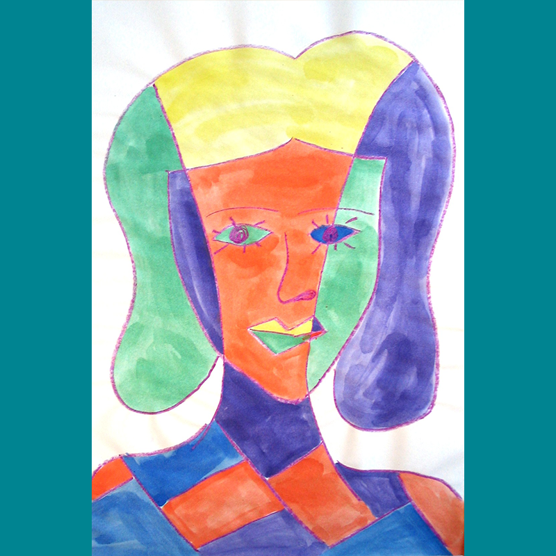 Kidcreate Studio, Picasso Portrait on Tagboard Art Project